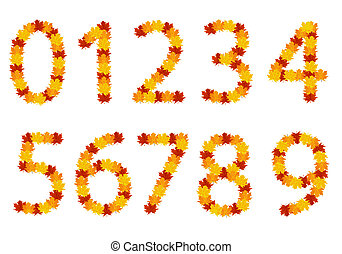 Autumn leaves numbers - Numbers with autumn leaves