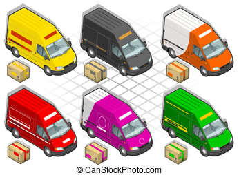 six isometric delivery van in two position