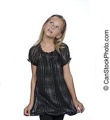 Portrait of adorable little girl - Little girl posed against...