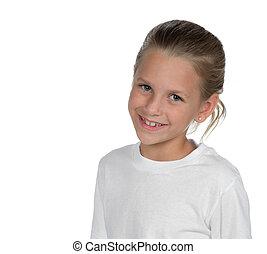 Charming little girl - Little girl posed against a white...