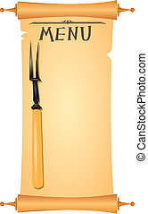 parchment menu - Parchment for restaurant menu with a fork....