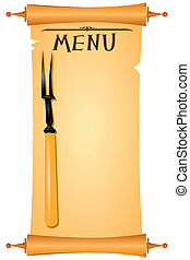 parchment menu - Parchment for restaurant menu with a fork...