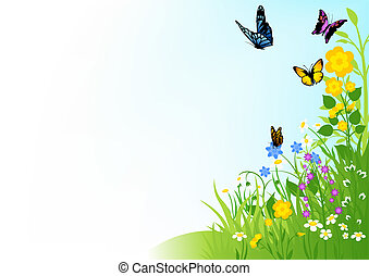 Butterflies and Flowers - Background Illustration, Vector