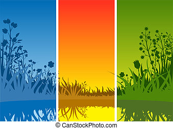 Small Lake and Grass - Background Illustration, Vector