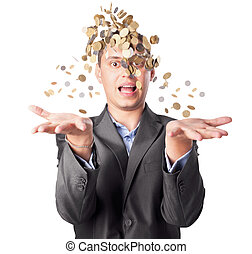 young businessman throws up many coins isolated on white...