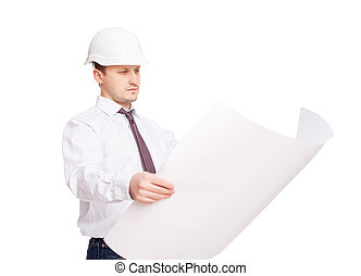 Young engineer looking at blueprint isolated on white...