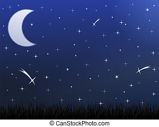 Night sky with stars and moon, vector eps10 illustration