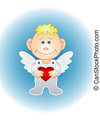 Boy angel with valentine heart - Cartoon boy angel with...