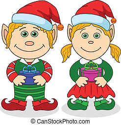 Christmas elves, boy and girl - Cartoon Christmas elves, boy...