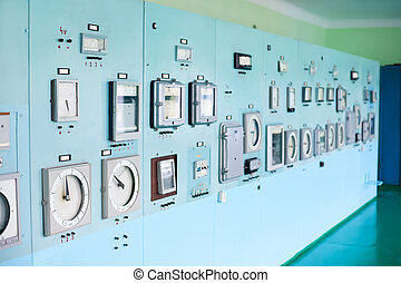 Control panel with instrumentation Control room