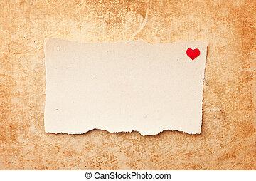 被撕,  grunge, 片斷, 背景, 紙, 信, 愛