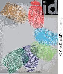 impresión, identificación,  vector, dedo, Ilustración