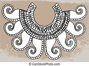Sketch of ancient necklace Vector illustration