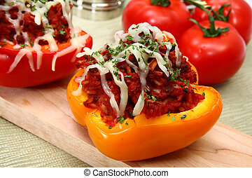 Stuffed Peppers - Peppers stuffed with beef, rice, tomato...