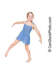 funny pretty little girl in blue dress
