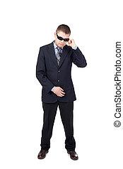 Seguridad, guardia, Llevando, Traje, gafas de sol, aislado,...