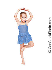 funny pretty little girl in blue dress isolated on white...