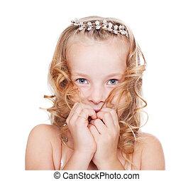 Portrait of shy pretty little girl