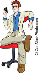 Man With Mobile Phone - Cartoon illustration of a man...