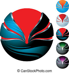 abstract sphere icon set
