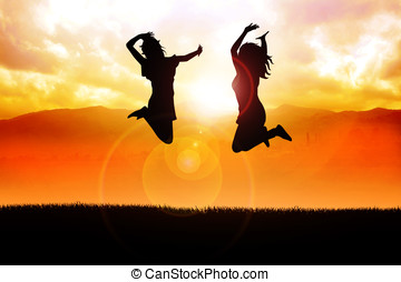 Jump Happily - Silhouette illustration of two girls jumping...