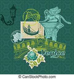 Scrapbook Design Elements - Venice Vintage Card with Stamps...