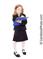nice little girl in a school uniform with clipboard isolated...
