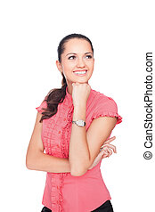 beautiful young smiling businesswoman standing with hands...