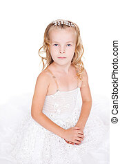 beautiful little girl in white dress isolated on white background