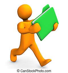 Folder Express - Orange cartoon character runs with a green...