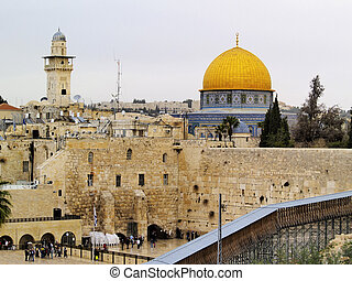 Wailing Wall and Al Aqsa Mosque, Jerusalem, Israel - photo...