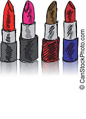 Sketch of Lipsticks isolated on a white background. Vector...