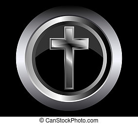 holy cross symbol of the Christian faith on a black metal...