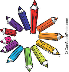 Sketch of colored pencils of various lengths. Vector Illustration