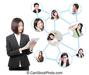 Young business woman in social network - Young asian...