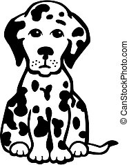 puppy dog - vector illustration of a cute, sad dalmation...