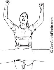 Sketch of woman reaching the finish line in a running event...