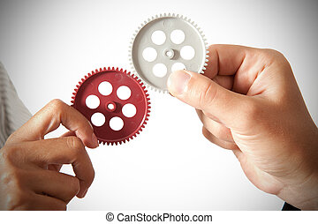 Partnership concept - partnershiop concept with gear and...
