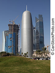 Skyscrapers in Doha West Bay, the new downtown district of Doha, Qatar, Middle East