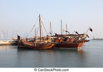 Traditional arabic dhows in Doha, Qatar, Middle East