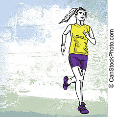 Sketch of female marathon runner Vector illustration