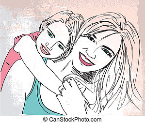 Sketch of little girl having fun with her beautiful mother. Vector illustration