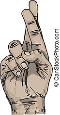 Sketch of Hand with crossed fingers Vector illustration