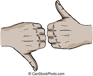 Sketch of Thumb up and thumb down hand signs Vector...