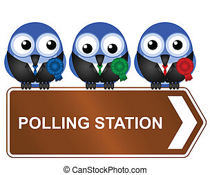 polling station - Comical polling station sign isolated on...