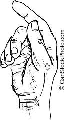 croquis, main, geste, Toucher, Pousser, indiquer, vecteur,...