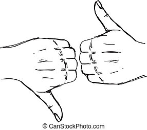Sketch of Thumb up and thumb down hand signs. Vector...