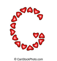 Letter G made of hearts on white background