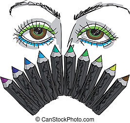 sketch of Cartoon Eyes and Professional eye liner. Vector illustration