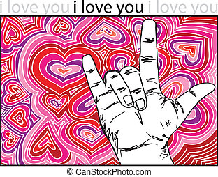 sign language for I LOVE YOU with abstract hearts...